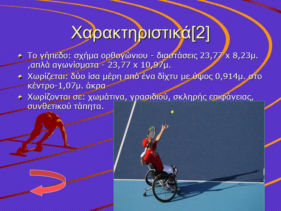 Χαρακτηριστικά[2] Το γήπεδο: σχήμα ορθογώνιου - διαστάσεις 23,77 x 8,23μ. ,απλά αγωνίσματα - 23,77 x 10,97μ.